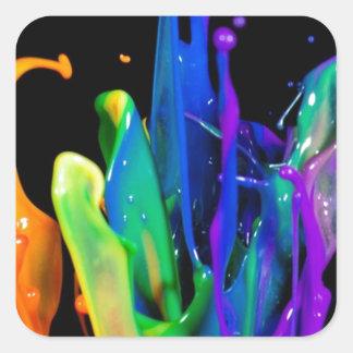 Colorful Raindow Paint Platter Square Sticker