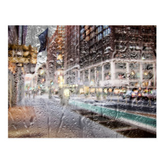 Colorful Rainy Day NYC Abstract Postcard