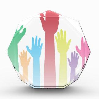 Colorful Raised Hands Acrylic Award