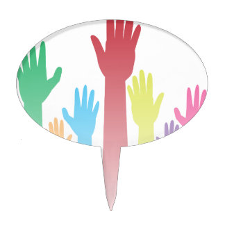 Colorful Raised Hands Cake Topper