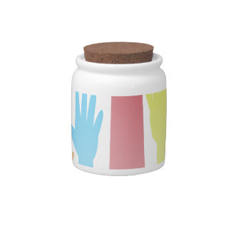 Colorful Raised Hands Candy Jars