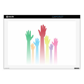 "Colorful Raised Hands Decal For 17"" Laptop"