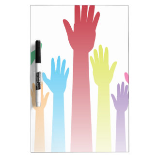 Colorful Raised Hands Dry-Erase Board