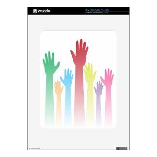 Colorful Raised Hands iPad Skin