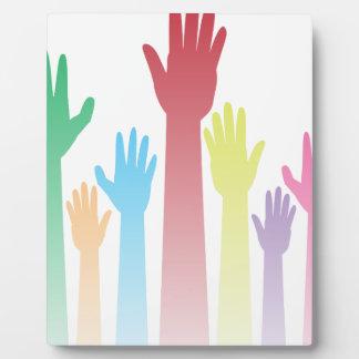 Colorful Raised Hands Plaque