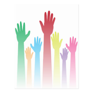 Colorful Raised Hands Postcard