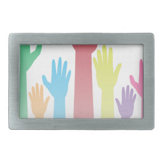 Colorful Raised Hands Rectangular Belt Buckle