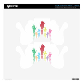 Colorful Raised Hands Skin For PS3 Controller