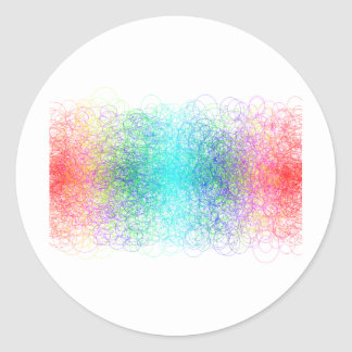 Colorful random lines and shapes classic round sticker