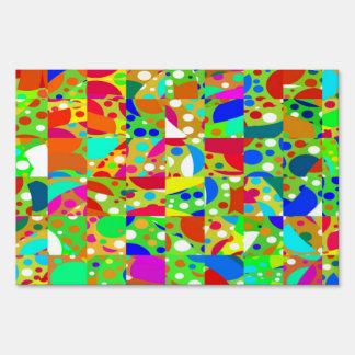 Colorful random squares yard sign