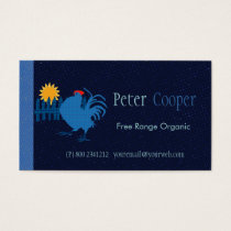 Colorful Range Rooster Organic Farming Business Card