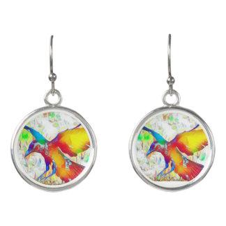 Colorful Raven Bird dangle earrings