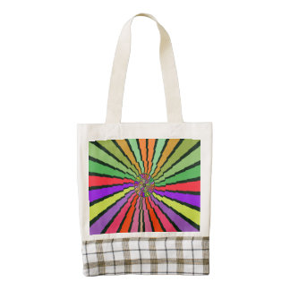 Colorful rays abstract design zazzle HEART tote bag