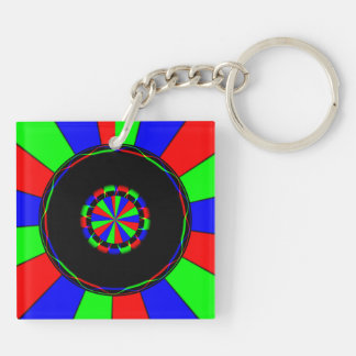 Colorful rays square acrylic key chain