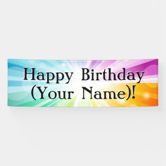 Colorful Rays Personalized Birthday Party Banner