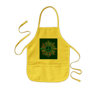 Colorful Rays Surround Peace Sign Apron