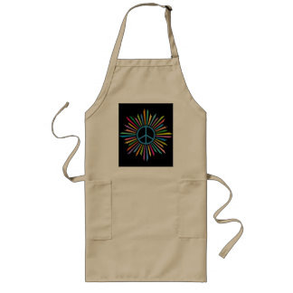 Colorful Rays Surround Peace Sign Long Apron