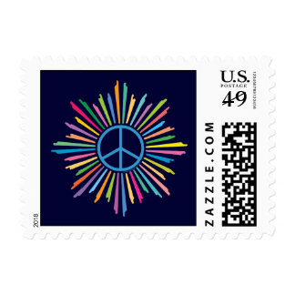 Colorful Rays Surround Peace Sign Postage Stamps