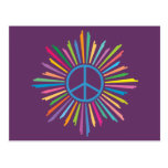 Colorful Rays Surround Peace Sign Postcard