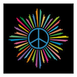 Colorful Rays Surround Peace Sign Print