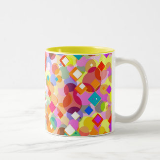 Colorful Rectangle and Dot Pattern Two-Tone Coffee Mug
