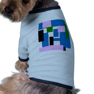 colorful rectangles blue pet tee shirt