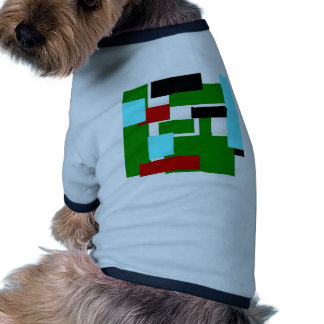 colorful rectangles green dog t-shirt