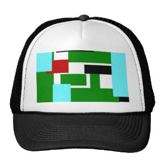 colorful rectangles green mesh hats
