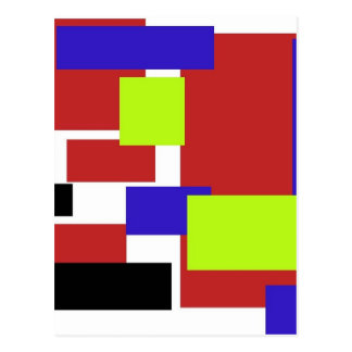 colorful rectangles red postcard