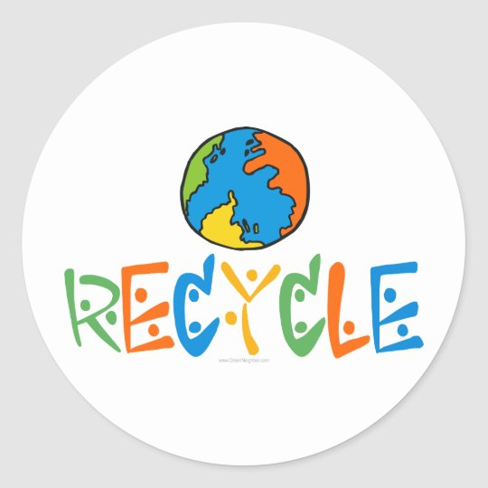Colorful Recycle Classic Round Sticker
