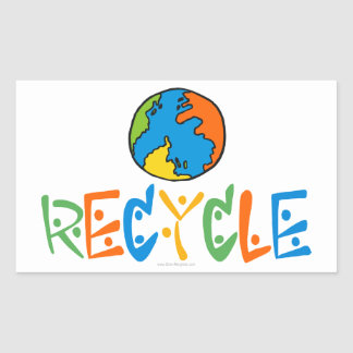 Colorful Recycle Rectangle Stickers