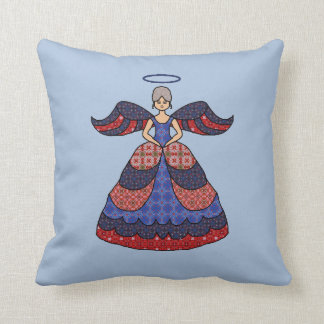 Colorful Red And Blue Angel Throw Pillow