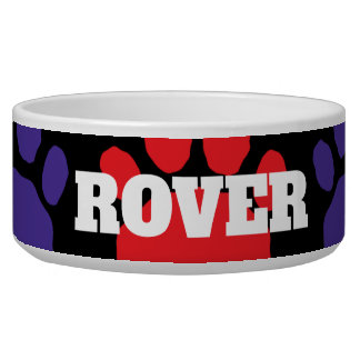 Colorful Red and Blue Animal Paw Print Bowl