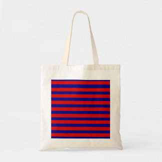 Colorful Red and Bright Blue Striped Pattern Budget Tote Bag