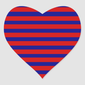 Colorful Red and Bright Blue Striped Pattern Heart Sticker