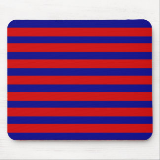 Colorful Red and Bright Blue Striped Pattern Mouse Pad