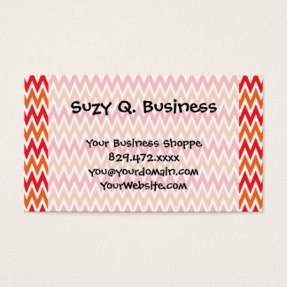Colorful Red and Orange Chevron Zigzag Pattern Business Card