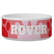 Colorful Red and Pink Animal Paw Print Bowl