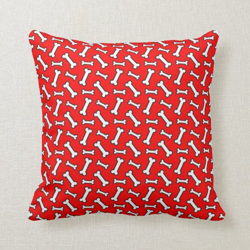 Red Dog Throw Pillows : Colorful Red and White Dog Bone Pattern Throw Pillow Zazzle