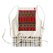 Colorful red aztec pattern zazzle HEART apron