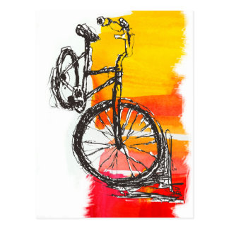 Colorful Red Bike Post Card