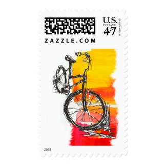 Colorful Red Bike Postage Stamp