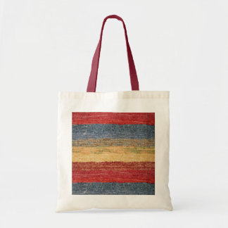 Colorful Red, Blue, Yellow Woven Rug Stripes Tote Bag