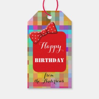 Colorful Red Checkered Birthday Gift Tag