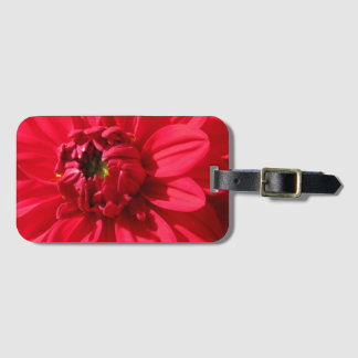 Colorful Red Dahlia Flower Detail Luggage Tag