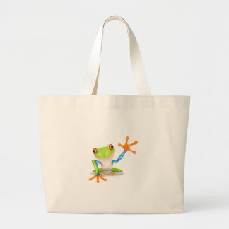 Colorful Red-Eyed Tree Frog Reaching Out Canvas Bag