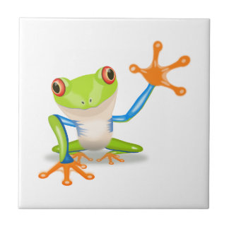 Colorful Red-Eyed Tree Frog Reaching Out Ceramic Tile