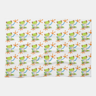 Colorful Red-Eyed Tree Frog Reaching Out Hand Towels