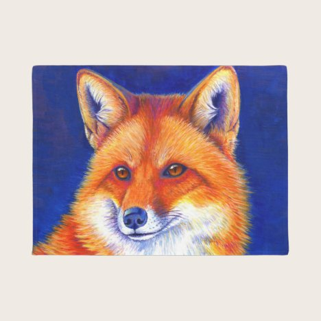 Colorful Red Fox Door Mat