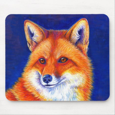 Colorful Red Fox Mouse pad